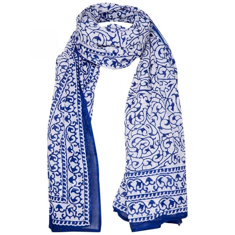 Blokprint sjaal - Otra Cosa - Blauw/Wit - 02