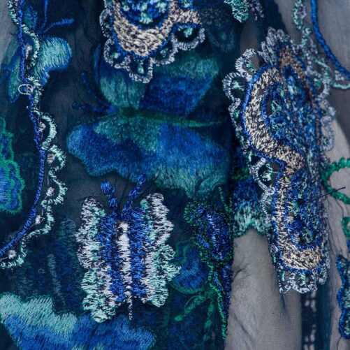 Zijden Sjaal – Otra Cosa – Blauw/Bloemen Kant