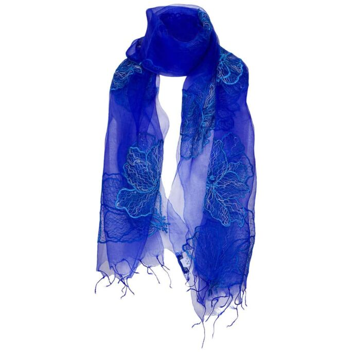 Zijden Sjaal – Otra Cosa – Kobalt Bloemen