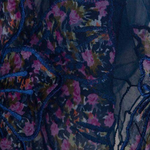 Zijden Sjaal – Otra Cosa – Donkerblauw/Roze Bloemen