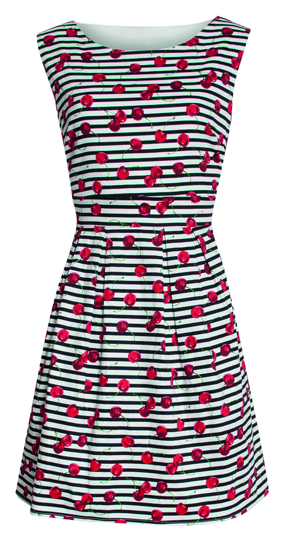 Dress – Smashed Lemon – black/white stripes and cherries