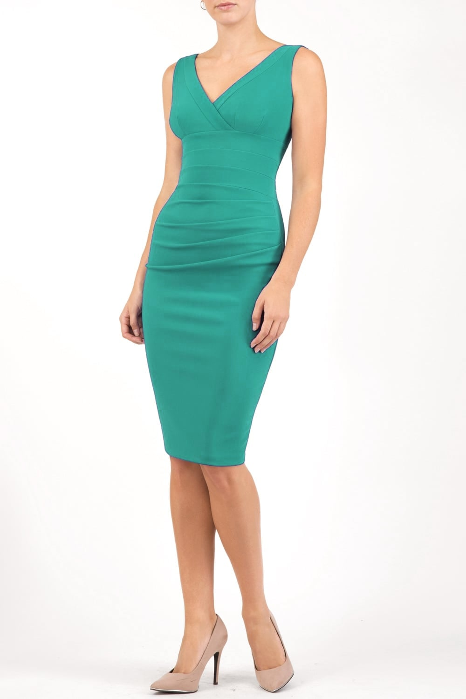 Diva Dress - Gathered Banbury - Emerald Green - Cocon Utrecht